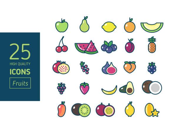 Sistema de iconos de frutas de alta calidad - ilustración de arte vectorial