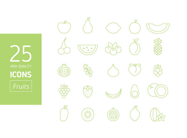 Alta calidad set de iconos de contorno movimiento fruta - ilustración de arte vectorial