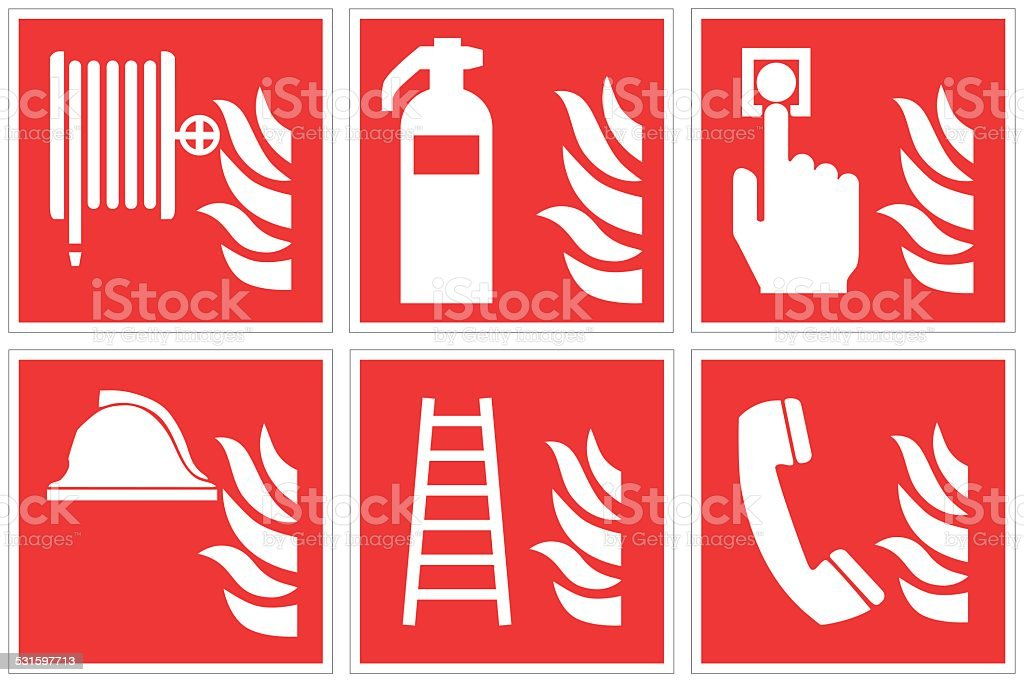 High quality Standard fire safety sign collection vector art illustration