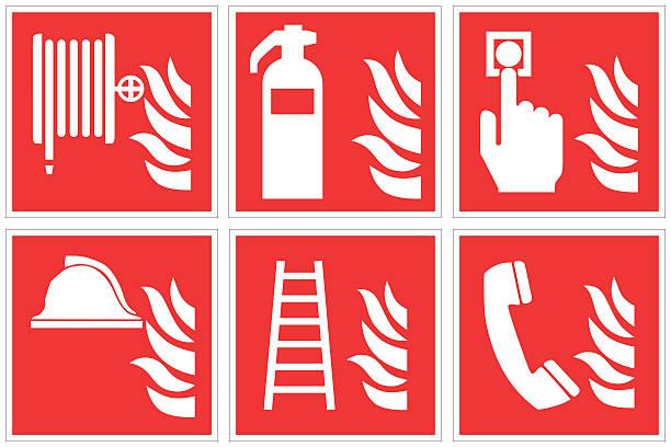 bildbanksillustrationer, clip art samt tecknat material och ikoner med high quality standard fire safety sign collection - fire alarm