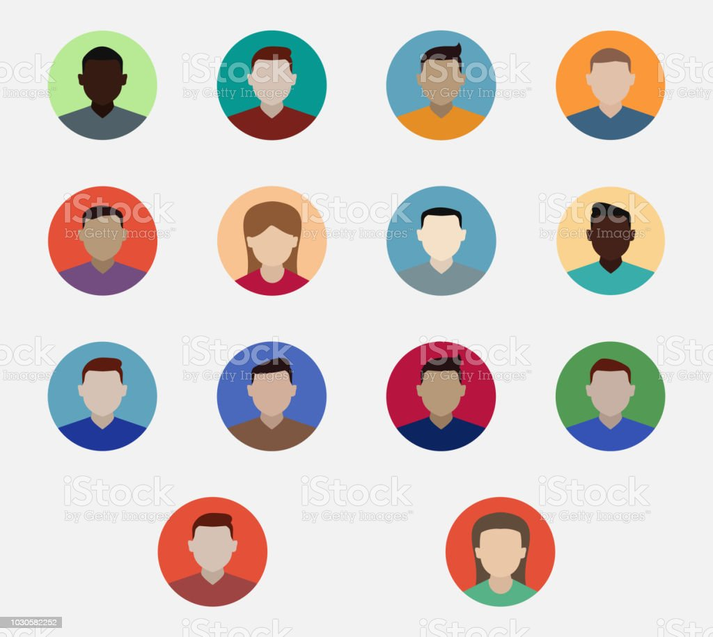 14 High Quality Vector Character Icons `Flat Design` vector art illustration