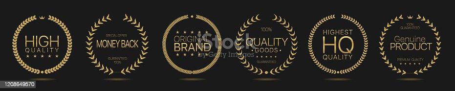 Golden Laurel wreath labels. Highest quality, money back, high quality, quality goods, genuine product, original brand golden labels. Vector illustration