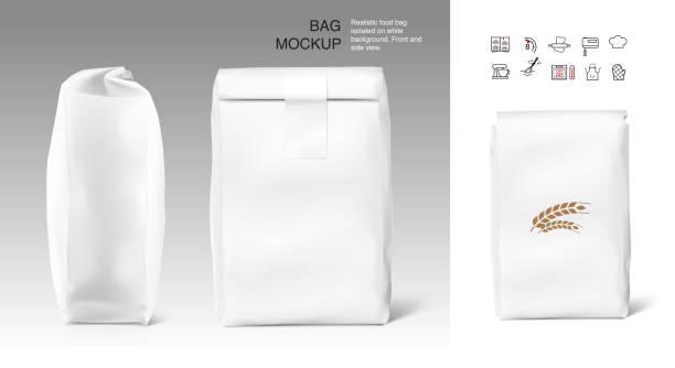 hochrealistische saubere vertikale tasche mockup mit klebeetikett. - mehl stock-grafiken, -clipart, -cartoons und -symbole
