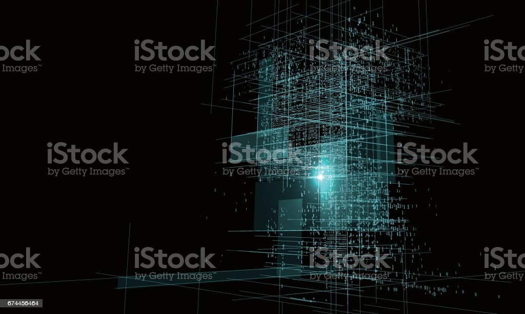A high - rise graphic design consisting of binary numbers. vector art illustration