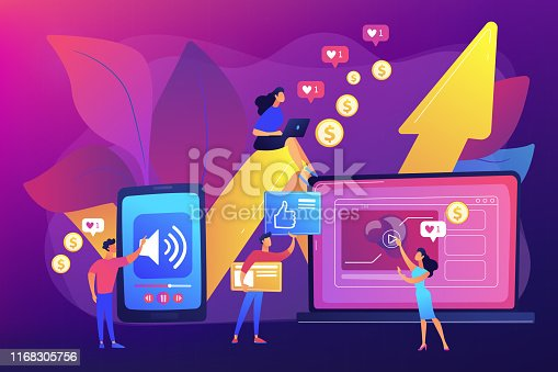 SMM, social media network influencer marketing. High ROI content, top media content production, measure your content investment concept. Bright vibrant violet vector isolated illustration