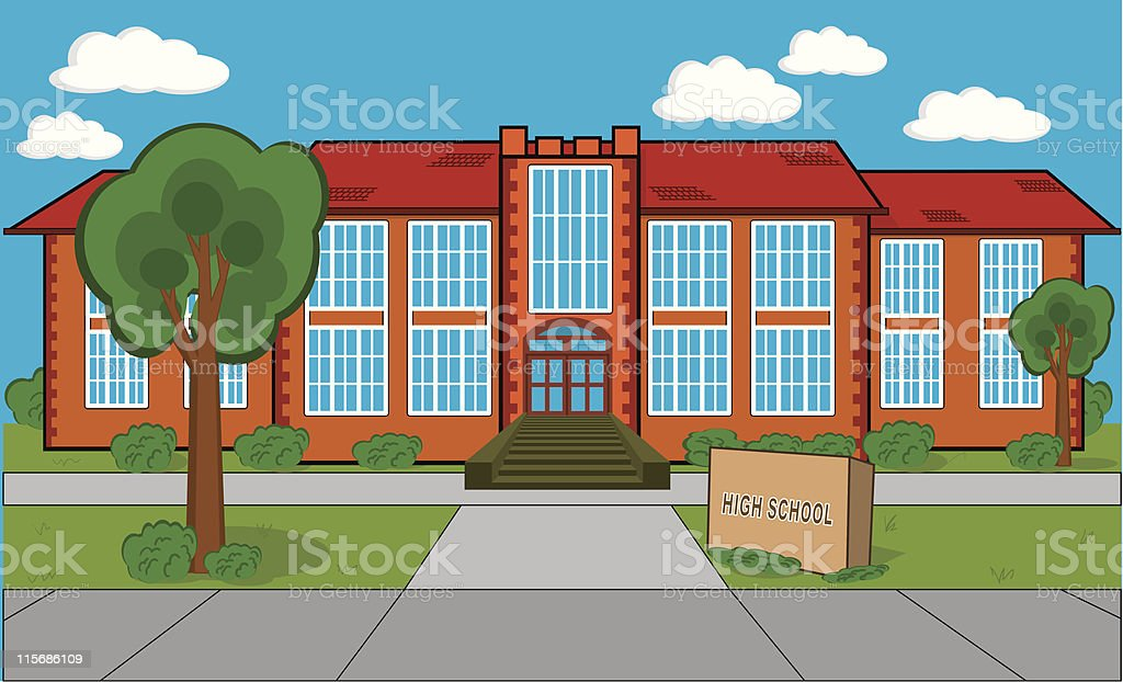 High school building cartoon with entrance sign royalty-free stock vector art