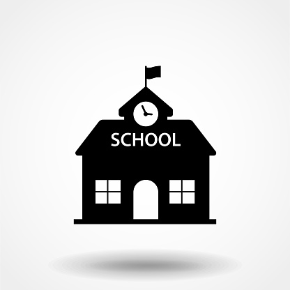 High School Building Icon Vector Filled Flat Sign Solid