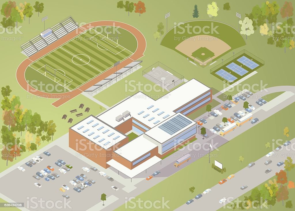 High School Building Illustration royalty-free high school building illustration stock vector art & more images of american football field
