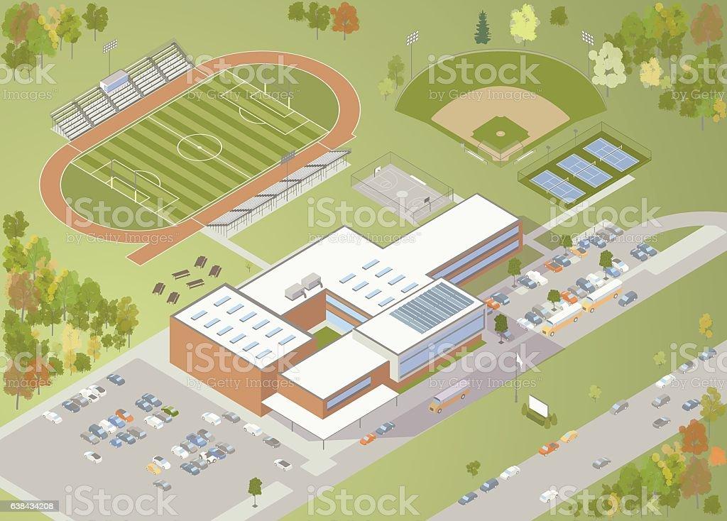 High School Building Illustration vector art illustration