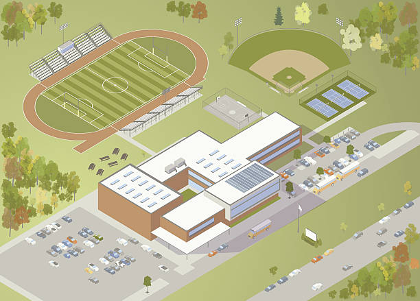 high school building illustration - high school sports stock illustrations