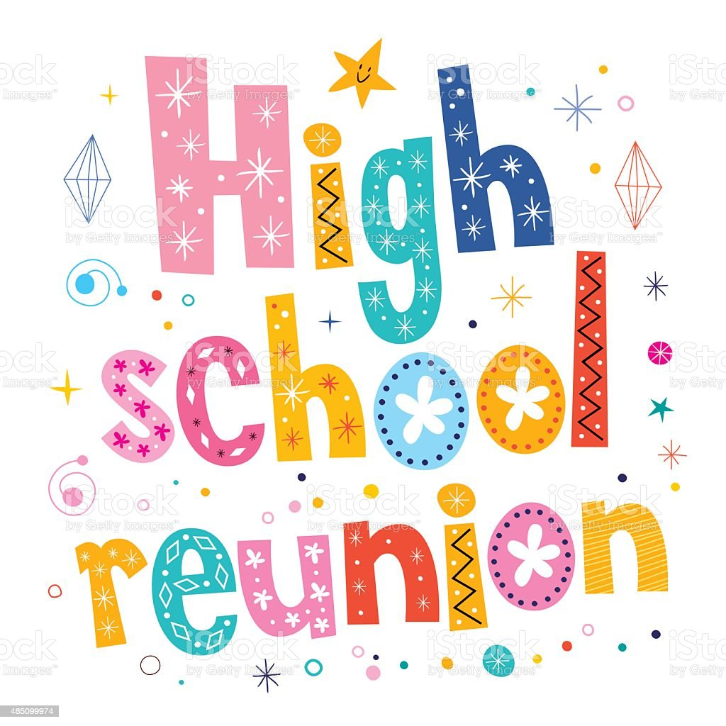 high school reunion decorative lettering text vector art illustration