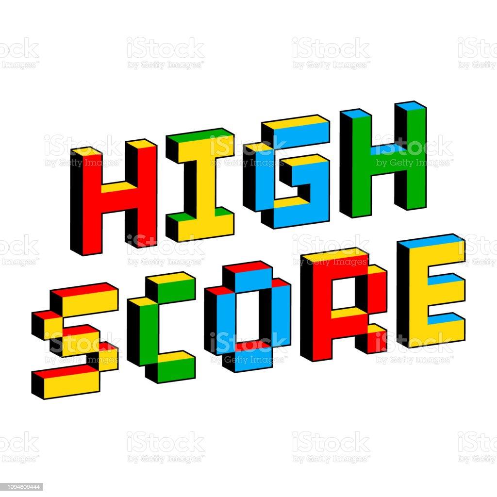 昔の 8 ビット ビデオ ゲームのスタイルで高スコア テキスト。活気に満ちたカラフルな 3 D のピクセルの文字。創造的なデジタル ベクトル ポスター、チラシ テンプレート。レトロなアーケ� ベクターアートイラスト
