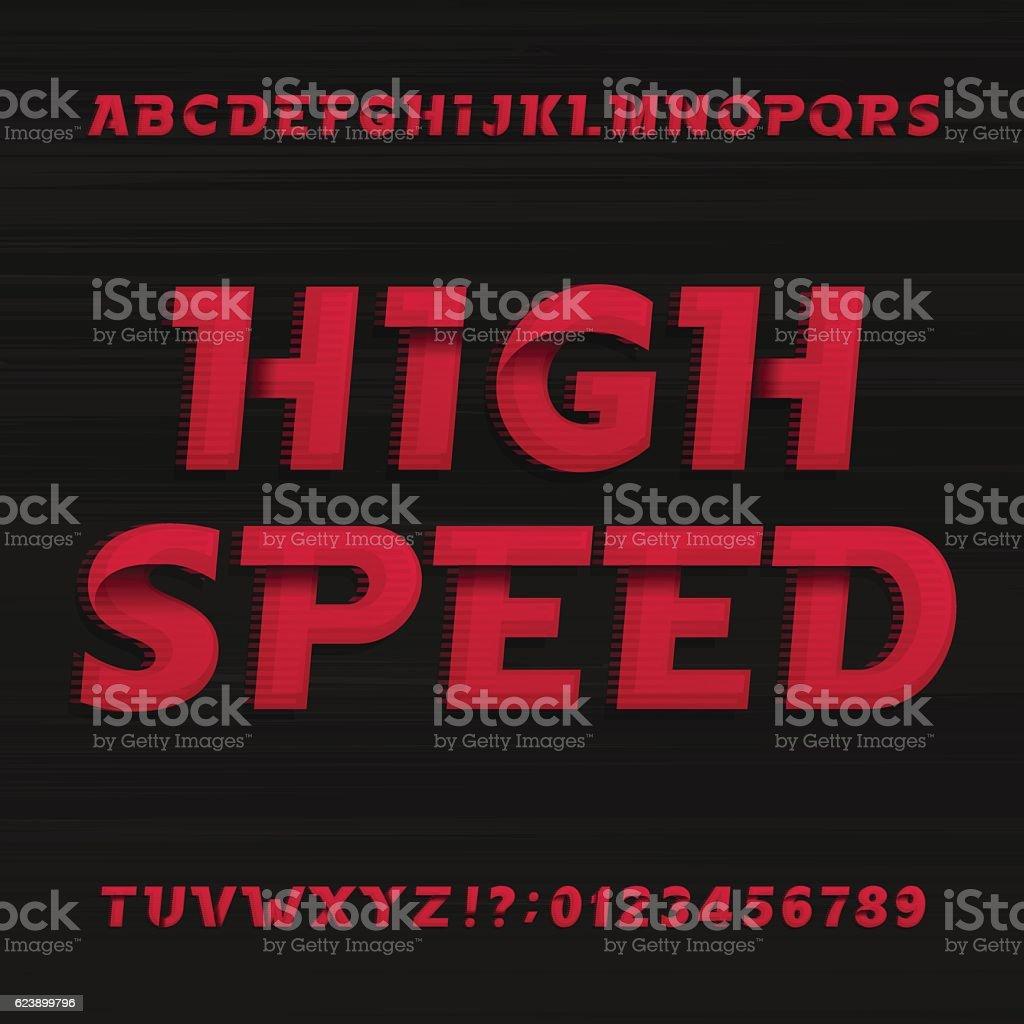 High speed alphabet font. Oblique dynamic letters. vector art illustration