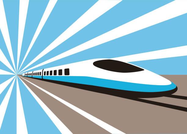 High speed bullet train, modern flat design, vector illustration High speed bullet train coming out, modern flat design, vector illustration bullet train stock illustrations