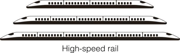 High speed bullet train, modern flat design, vector illustration High speed bullet train coming out, modern flat design, vector illustration high speed train stock illustrations