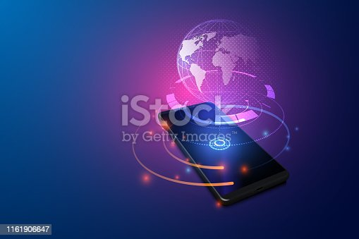 High speed communications with world wide web from anywhere in world via phone mobile internet. Hologram earth virtual hud elements over screen smartphone. vector eps10