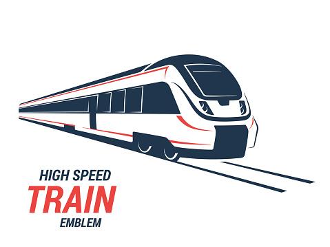 High speed commuter train emblem, icon, label