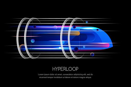 High speed futuristic train, hyperloop, vector dynamic illustration. Future express transport trendy design concept