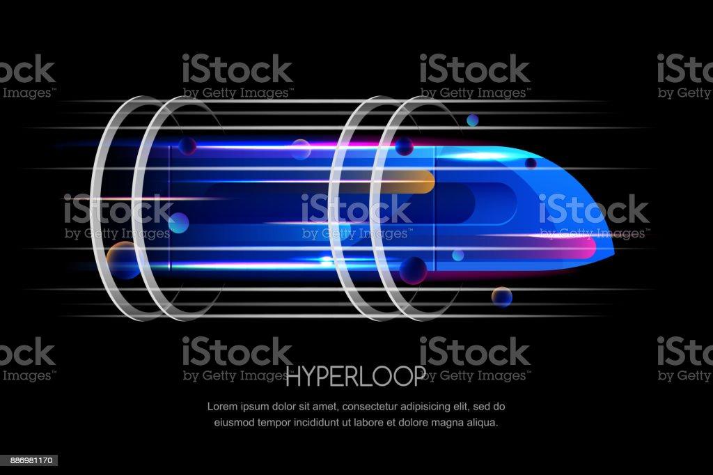 Comboio de alta velocidade futurista, hyperloop, dinâmico ilustração vetorial. Conceito de design moderno do futuro transporte expresso - ilustração de arte em vetor