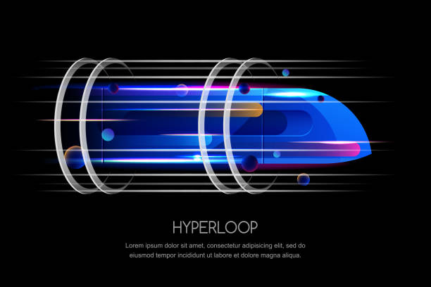Train à grande vitesse futuriste hyperloop, vector illustration dynamique. Concept de design tendance future transport express - Illustration vectorielle