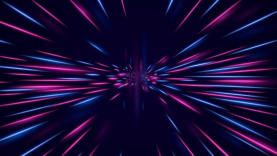 High speed neon hyper jump. Futuristic neon effect flying through space.