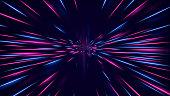 istock High speed neon hyper jump. Futuristic neon effect flying through space. 1256831158