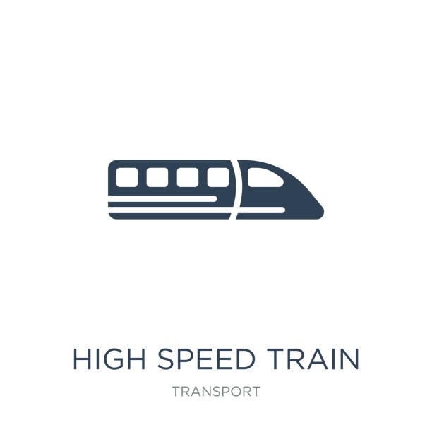 high speed train icon vector on white background, high speed train trendy filled icons from Transport collection, high speed train vector illustration high speed train icon vector on white background, high speed train trendy filled icons from Transport collection, high speed train vector illustration bullet train stock illustrations