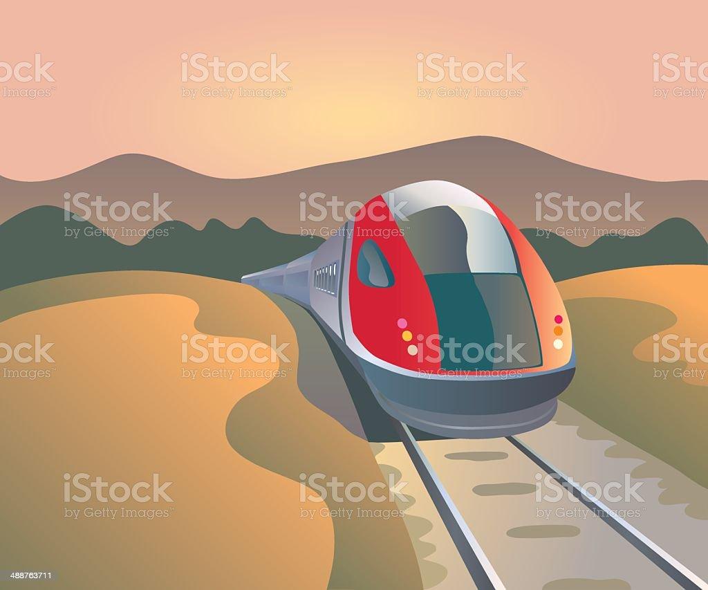high speed train in landscape vector art illustration