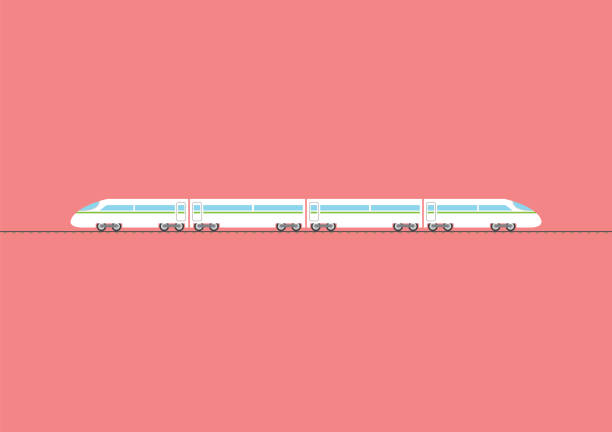 Train à grande vitesse isolé sur fond rouge - Illustration vectorielle