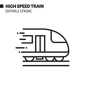 High Speed Train Line Icon, Outline Vector Symbol Illustration. Pixel Perfect, Editable Stroke.