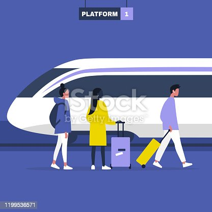 High speed train locomotive, a group of young adult characters standing and walking on a platform with their luggage