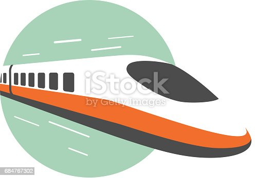 High speed train come out from the circle, modern flat design, vector illustration