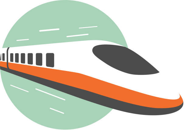 High speed train, modern flat design, vector illustration High speed train come out from the circle, modern flat design, vector illustration bullet train stock illustrations