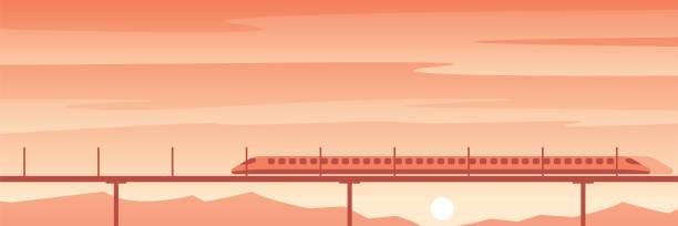 High Speed Train Travel Scene High Speed Train Travel Scene bullet train stock illustrations