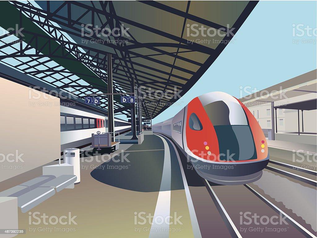 high speed train vector art illustration