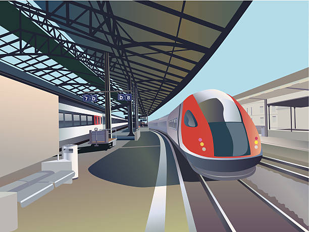high speed train train in a railway station high speed train stock illustrations