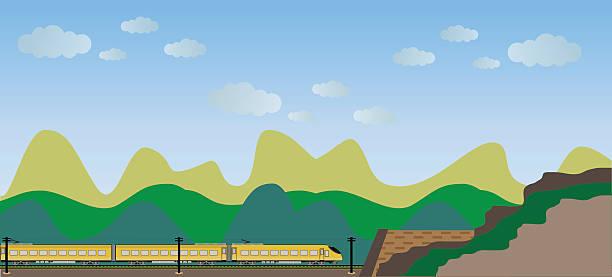 illustrazioni stock, clip art, cartoni animati e icone di tendenza di high speed train with mountain view background - subway