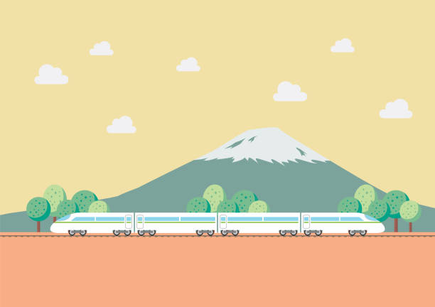 High speed train with nature background High speed train with nature background. Vector Illustration high speed train stock illustrations
