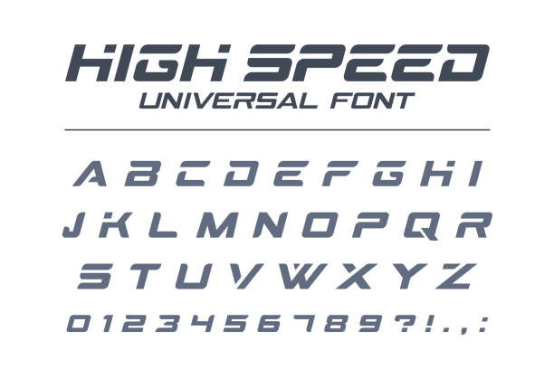 High speed universal font. Fast sport, futuristic, technology, future alphabet. High speed universal font. Fast sport, futuristic, technology, future alphabet. Letters and numbers for military, industrial, electric car racing logo design. Modern minimalistic vector typeface auto racing stock illustrations