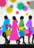 Colourful overlapping silhouettes of female High Street shoppers during Pandemic, Covid-19, pandemic, virus,