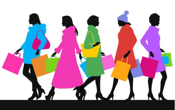 high street shopper - couture stock-grafiken, -clipart, -cartoons und -symbole