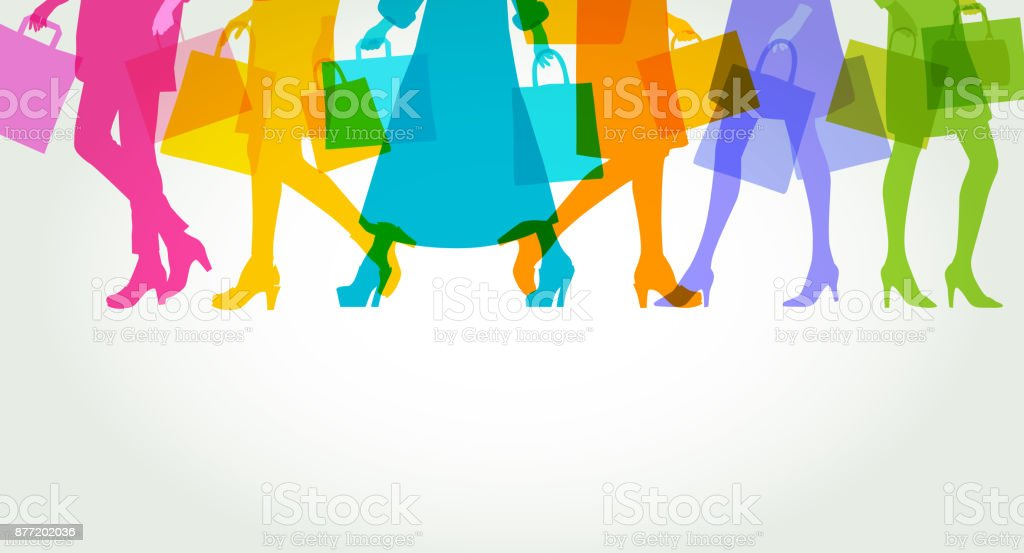 High Street Shoppers vector art illustration