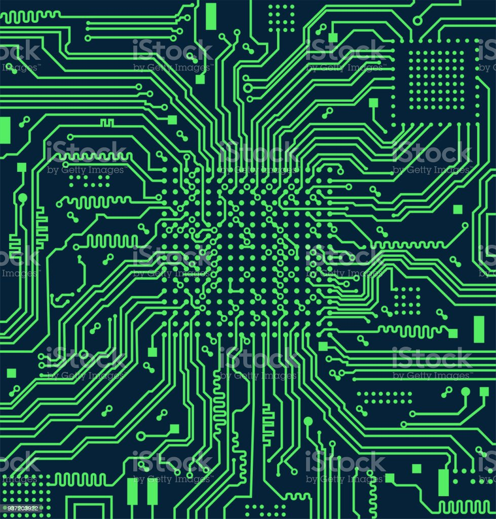 High Tech Electronic Circuit Board Vector Background Stock Illustration Download Image Now Istock