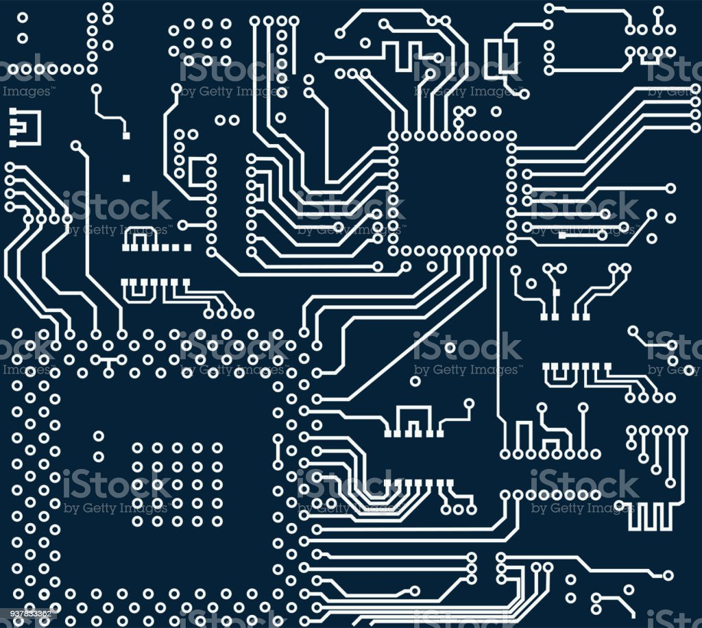 Electronic Circuit Art Abstract Background With Old Computer Board High Tech Vector Royalty Free