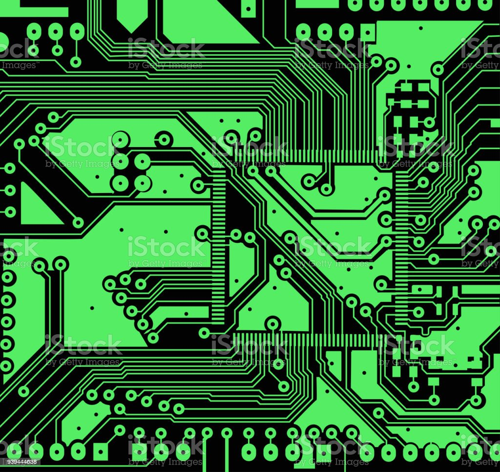 High Tech Electronic Circuit Board Vector Background Stock Printed Electronics Royalty Free