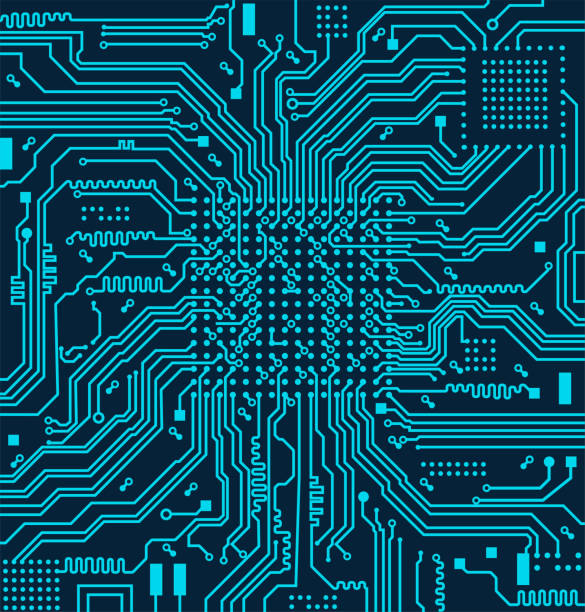 ハイテク電子回路基板のベクトルの背景 - 半導体点のイラスト素材/クリップアート素材/マンガ素材/アイコン素材