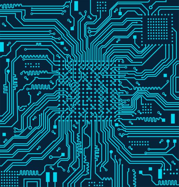 yüksek teknoloji elektronik devre kartı vektör arka plan - cpu stock illustrations