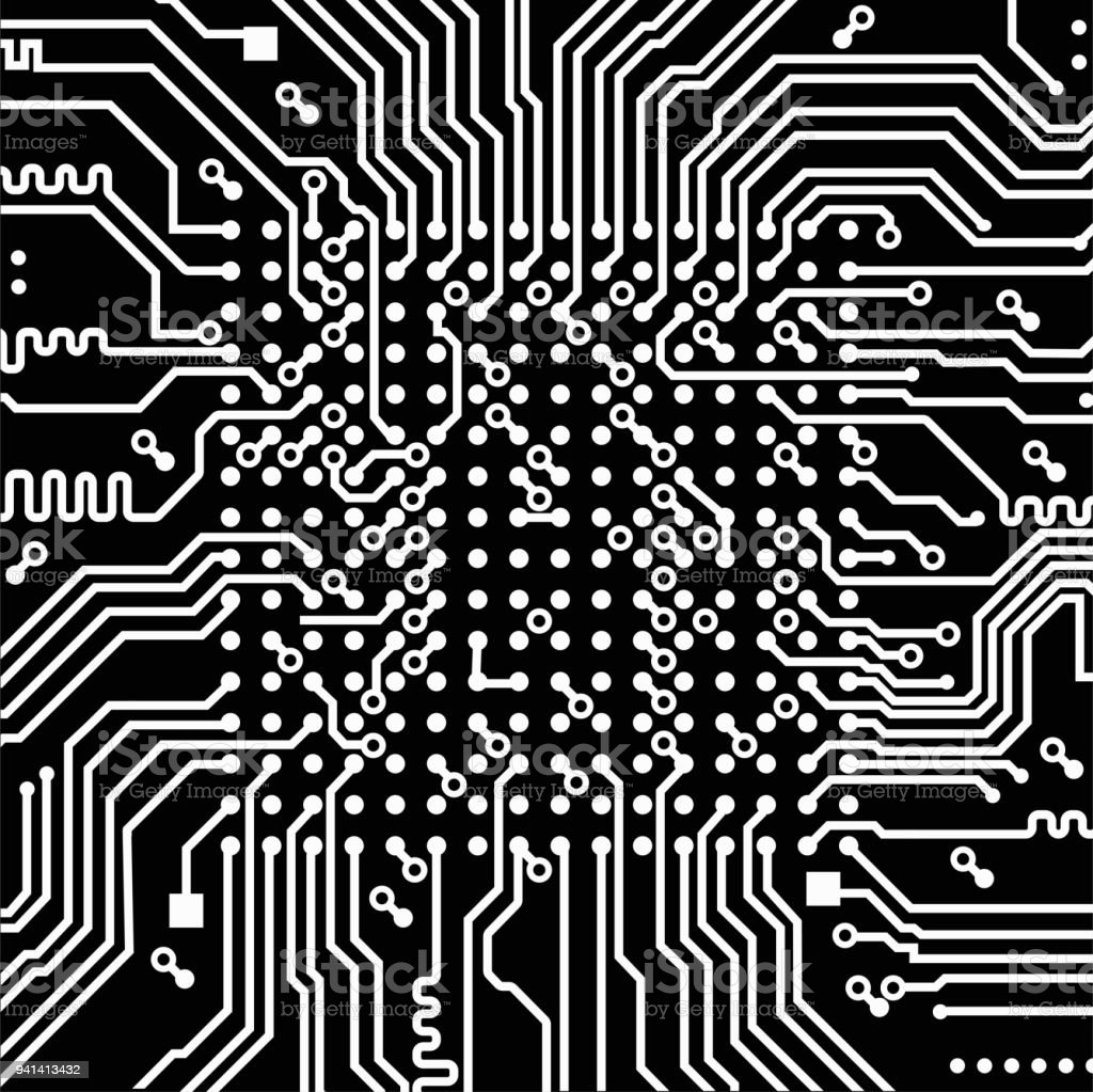 High Tech Electronic Circuit Board Vector Background Stock Old Royalty Free Image