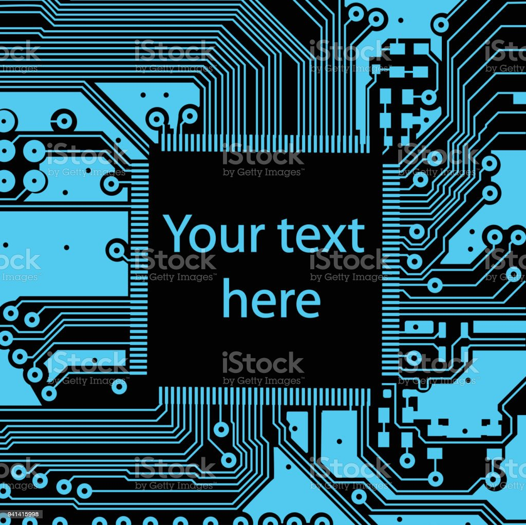 High Tech Electronic Circuit Board Vector Background Stock Electric Royalty Free