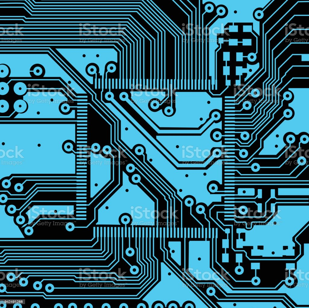Circuit Board Background Vector Electronic Art Printed Electronics High Tech Royalty Free
